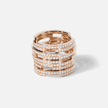 Dauphin 'Collection II' ring with diamonds in 18k gold