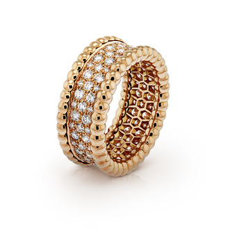 Van Cleef & Arpels 'Perlee' ring with diamonds in 18k gold