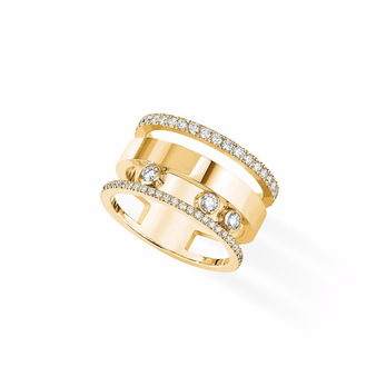 Messika 'Move Romane' ring with diamonds in 18k yellow gold
