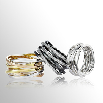 Caratell 'Love Nest' rings with diamonds, 18k white gold, 18k yellow gold, 18k rose gold and platinum