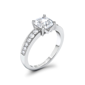 Asprey ring with 2.01ct cushion cut feature diamond