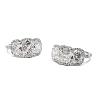 Bayco 'Cosmopolitan' 3.79ct antique 3 stone cushion cut diamond ring in platinum setting