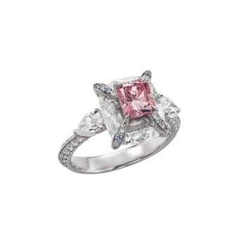 Boghossian 'Kissing Diamonds' ring with fancy intense pink radiant cut 1.06ct diamond inlaid in large colourless diamond