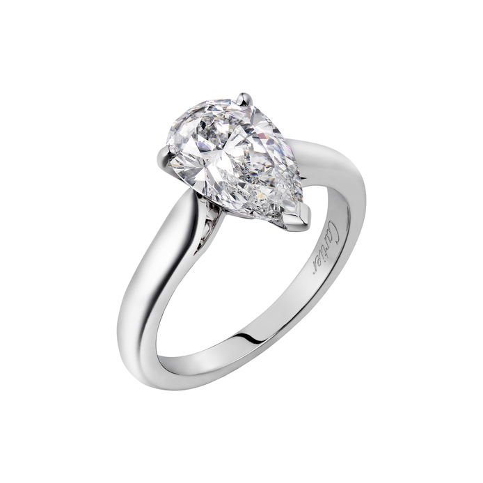 Cartier '1895' pear cut diamond solitaire ring in platinum