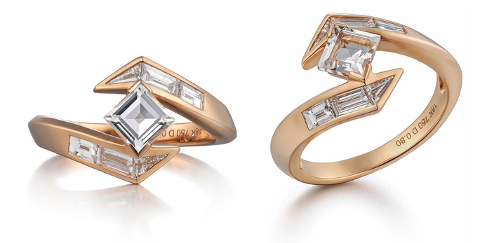Tomasz Donocik 'Stellar' 0.80ct step-cut diamond in 18k rose gold setting