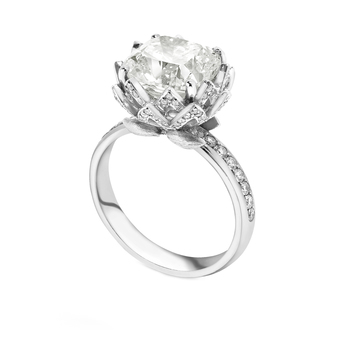 Theo Fennell 'Waterlily' 4.14ct Forevermark cushion cut diamond & 0.56ct pave diamond setting