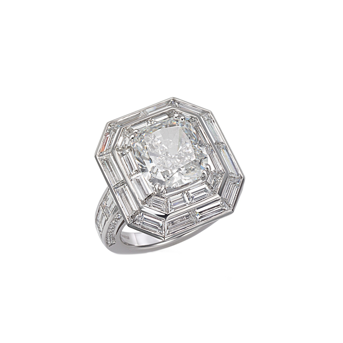 Picchiotti 'Decoratif' cushion cut feature stone with baguette cut double halo ring from Bridal collection