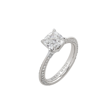 Nirav Modi 'Tulip' diamond solitaire pavé ring in platinum