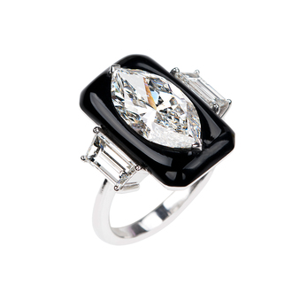 Nikos Koulis 'Oui' ring, 3ct marquise cut diamond and 1.30ct tapered baguette cut diamonds in 18k white gold