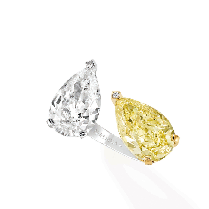 Messika 'Toi et Moi' fancy vivid yellow and colourless pear cut diamond ring