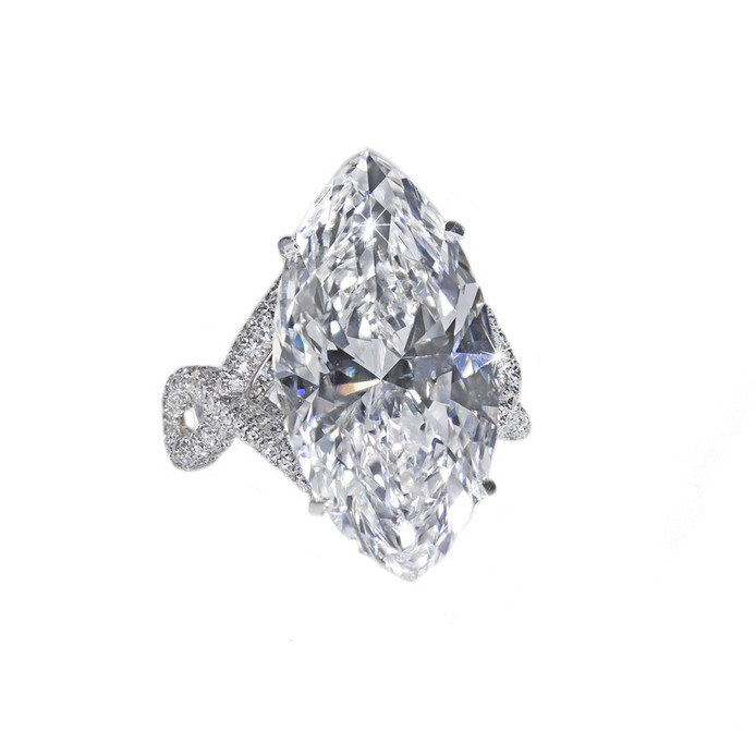 David Morris 13.70ct marquise cut diamond mounted with micro-set colourless diamonds