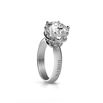 Damiani 'Minou' solitaire ring in 18k white gold setting