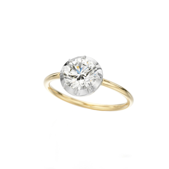Jessica McCormack 'Button Back' 1ct solitaire ring with 18k white gold setting and 18k yellow gold shank
