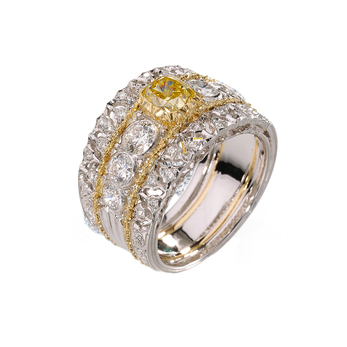 Buccelatti 'Band' ring, fancy yellow and colourless diamonds in white and yellow 18k gold setting