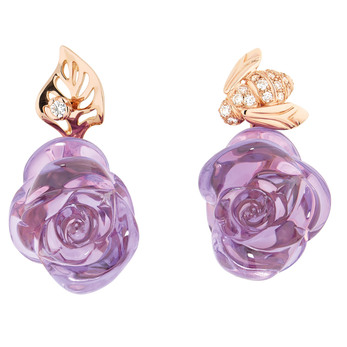 Dior 'Rose Dior Pré Catalan' earrings in 18k pink gold with carved amethyst and diamonds