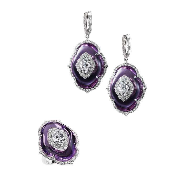 Boghossian ring and earring Art of Inlay set featuring diamond inlaid into amethyst
