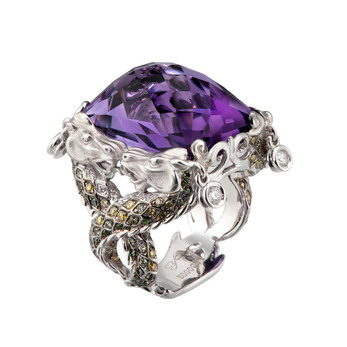 Carrera y Carrera Nankin XL ring in 18k white-gold, with amethyst, demantoid garnets, green, yellow and white diamonds