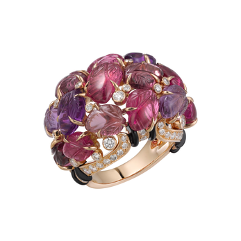 Cartier ring with carved gemstones in 18k pink gold, with rubellites, amethysts, garnets, onyx and diamonds