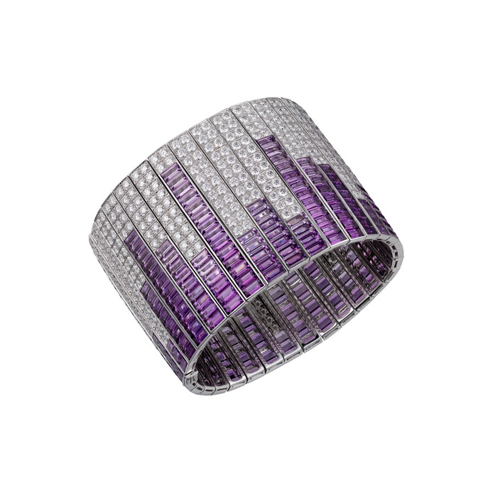 Cartier High Jewellery cuff in 18k white gold, amethysts and diamonds