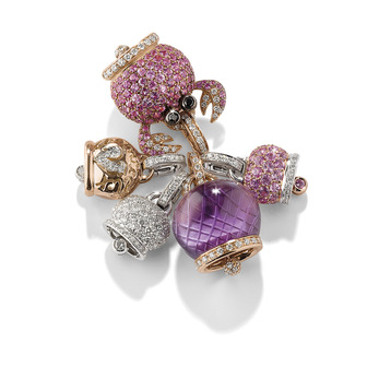 Chantecler Bells selection of fine jewellery charms set in 18k white and yellow gold, with pink sapphires, amethyst and diamonds
