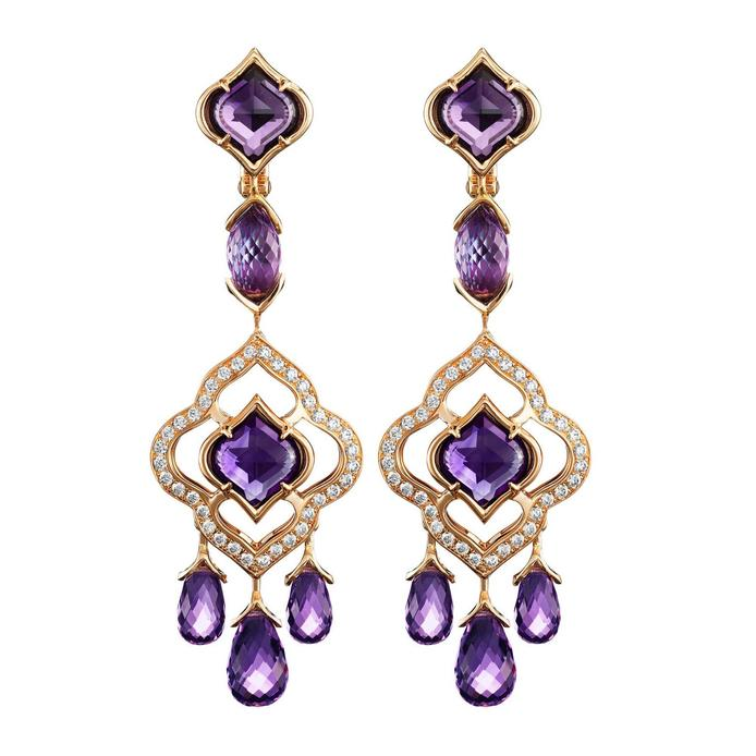 Chopard 'Imperiale' drop earrings in 18k yellow gold with amethysts and diamonds