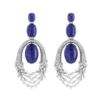 Hueb 'Luminus' drop earrings in 18k white gold with tanzanite and diamonds