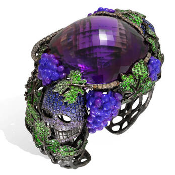 Lydia Courteille 'Vendanges Tardives' one of a kind cuff with tsavorites, brown diamonds, sapphires and faceted amethyst