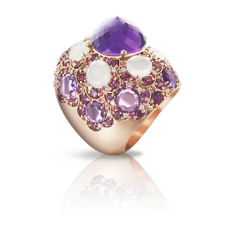 Pasquale Bruni Taj ring in 18k pink gold with quartz and amethyst