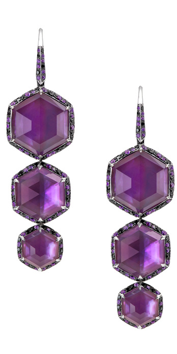 Stephen Webster 'Deco-Haze' drop earrings set in 18k white gold with amethyst, pink sapphires and black diamonds