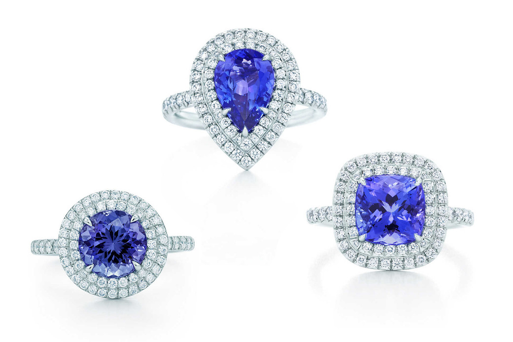 Tiffany & Co. 'Soleste' rings, featuring cushion, round brilliant and pear cut tanzanite with diamond halo settings