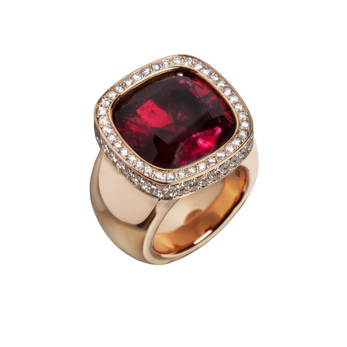 Philippe Pfeiffer ring with 17.35ct rubellite, set in red gold and 114 brilliant cut 2.27ct diamonds