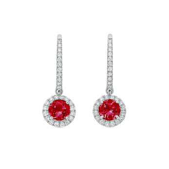 Mappin&Webb Carrington drop earrings in 18k white gold with 1.30ct rubies and 0.30ct diamonds