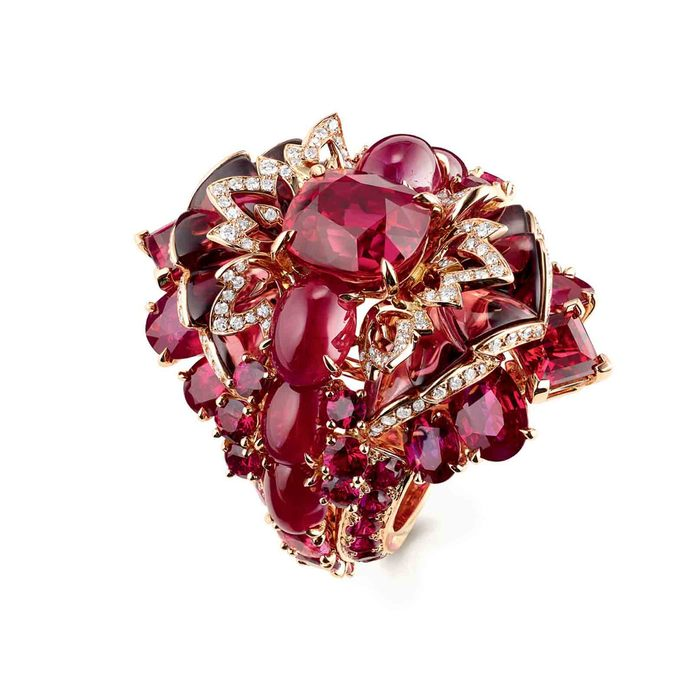 Chaumet 'Aria Passionata' ring in rhodolite garnets and red tourmalines with diamonds