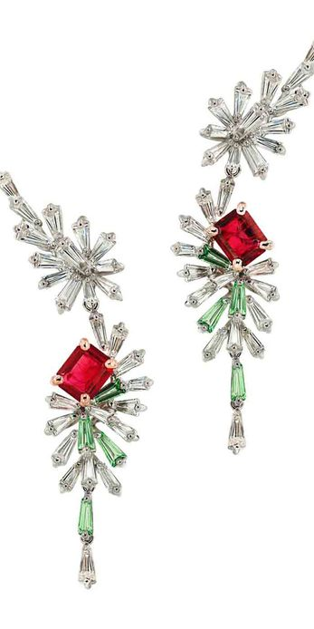 Caratell 'Firework' collection red beryl, green garnet and diamond drop earrings
