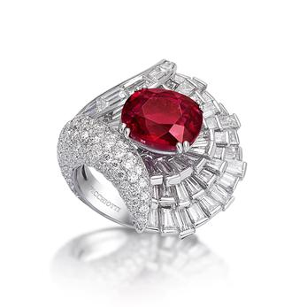 Picchiotti special edition 50th anniversary 8.05ct ruby and diamond ring