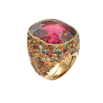 Lorenz Baumer 'Cardinale' ring with 38.49ct rubellite, pink sapphires, orange sapphires, peridots, aquamarines and Paraiba tourmalines