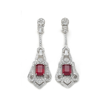 Marisa Perry Atelier Art Deco style 12.13ct ruby and 4.02ct diamond drop earrings