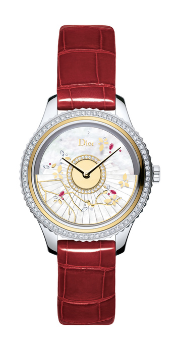 Dior 'Grand Bal Fête du Printemps' watch in steel, yellow gold, diamonds, rubies and mother-of-pearl dial