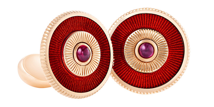 Fabergé cufflinks with red enamel and rubies set in rose gold