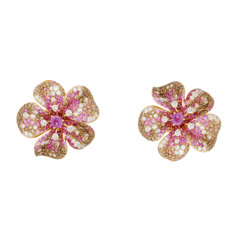 Gismondi 1754 'Lilium' Earrings with white diamonds, brown diamonds and pink sapphires in 18k rose gold
