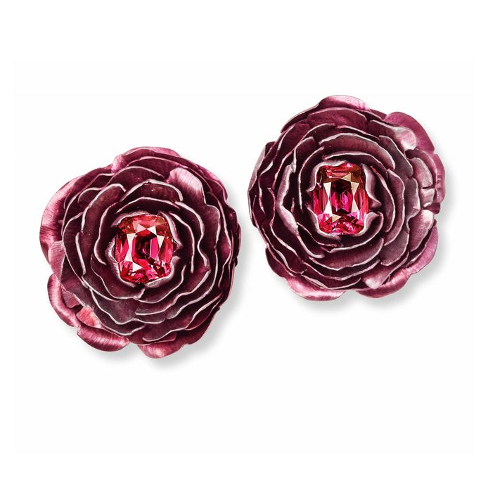 Hemmerle earrings in rubies, spinels, white gold and aluminium