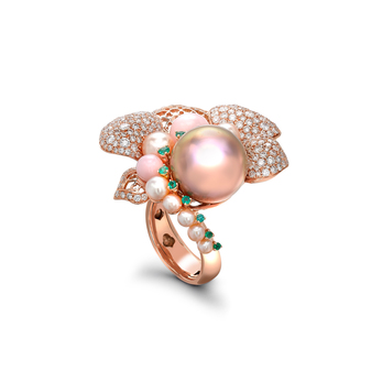 Sarah Ho 'Peony Dusk' ring in pearls, diamonds, tsavorites and chalcedony