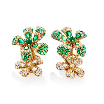 Chantecler flower earrings with tsavorites and diamonds
