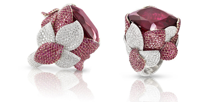 Pasquale Bruni 'Giardini Segreti' ring with rubellite and diamonds