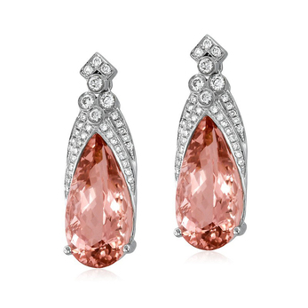 Yael Designs 'Paladin Sunrise' earrings with morganite, ideal cut diamonds and 18k rose gold