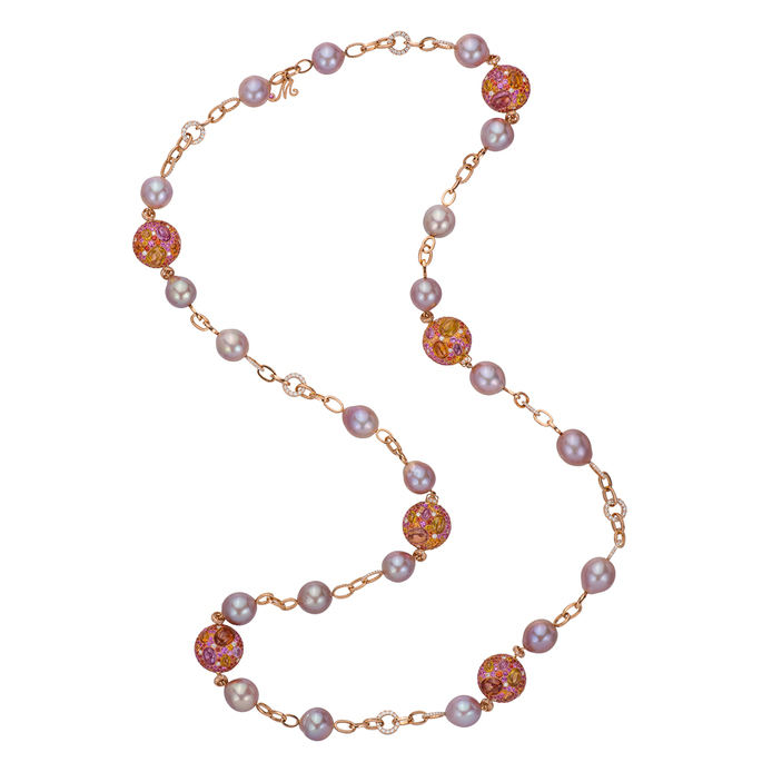 Margot McKinney necklace with 5.92ct diamonds, tsavorites, pink sapphires, amethyst, peridot, and 24 pink South Sea pearls in 18k rose gold