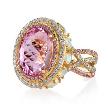 Erica Courtney 'Crossover' ring with 11.19ct imperial pink topaz, opal,  pink sapphire and diamonds and 18k yellow gold