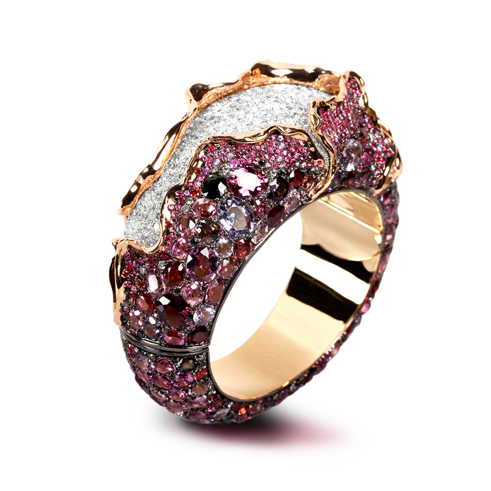 Andre Marcha 'Craquele' cuff from 'Drape' collection, with 142.6ct spinels, 20.20ct diamonds and 18k rose gold