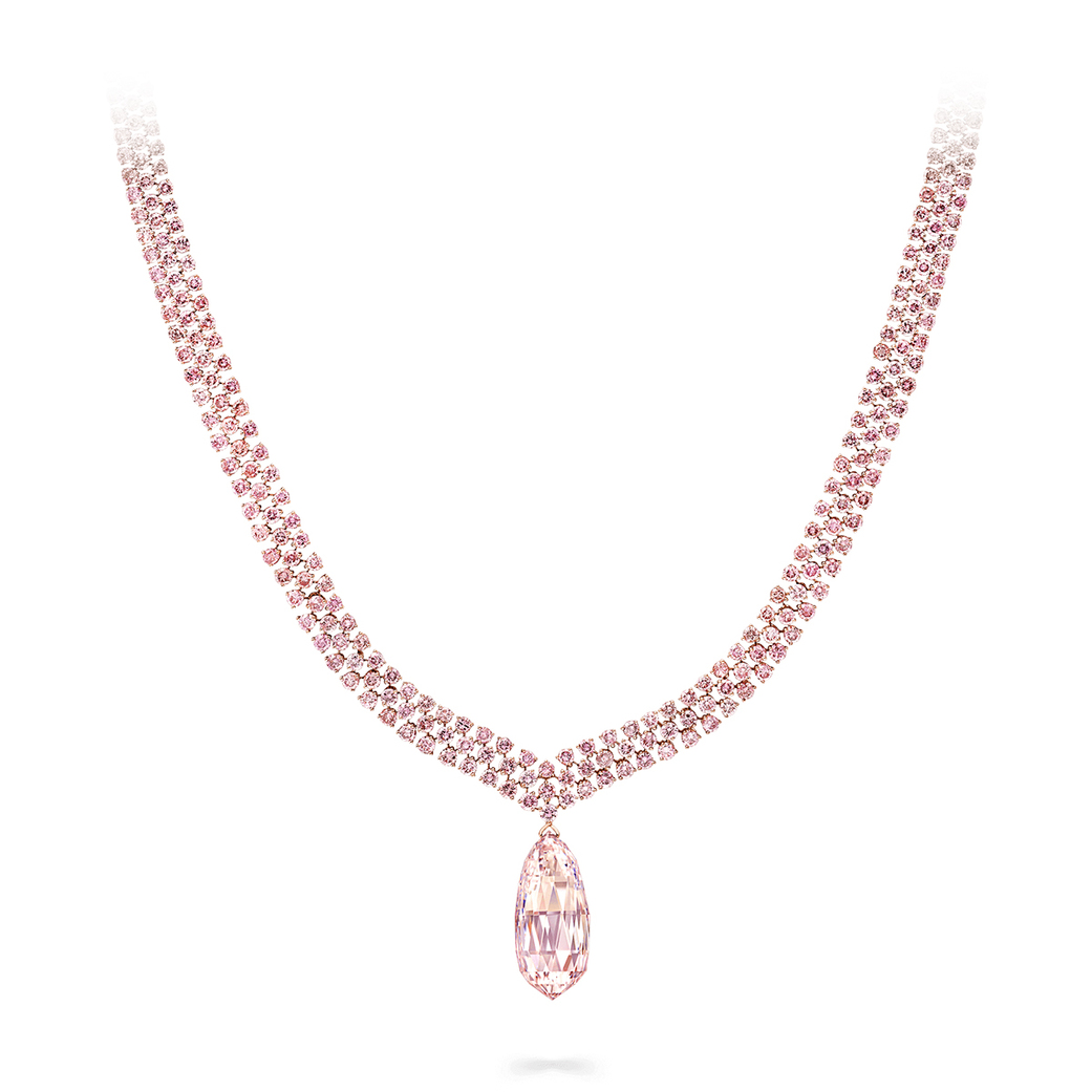 Graff necklace with 30.94ct detachable pink diamond briolette  drop and 27ct pink diamonds