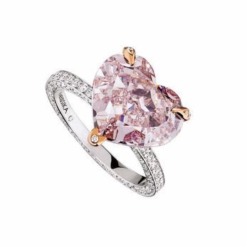 Messika ring with heart-shaped pink diamond, diamond pavé and 18k white gold